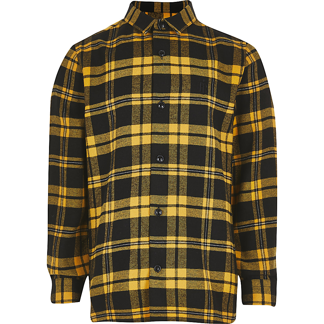 Boys yellow check shirt