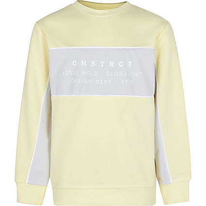 Boys yellow colour block sweatshirt