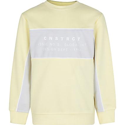 Boys yellow colour block sweatshirt