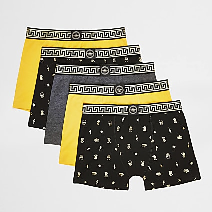 Boys yellow foil print boxers 5 pack