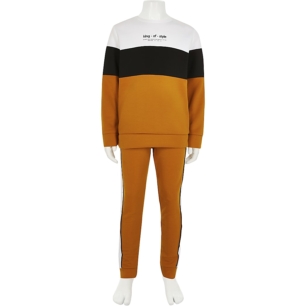 Boys yellow 'King of style' tracksuit