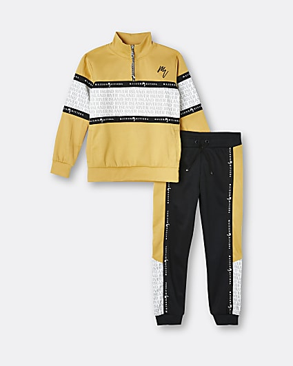 Boys yellow Maison Riviera tracksuit outfit