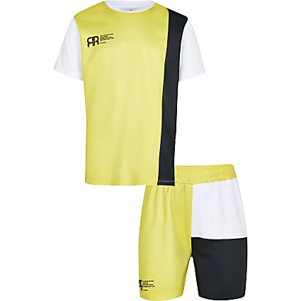 Boys yellow mesh t-shirt and short outfit