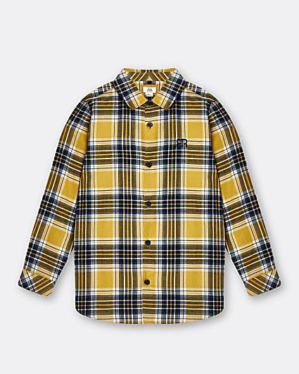 Boys yellow mustard check shirt