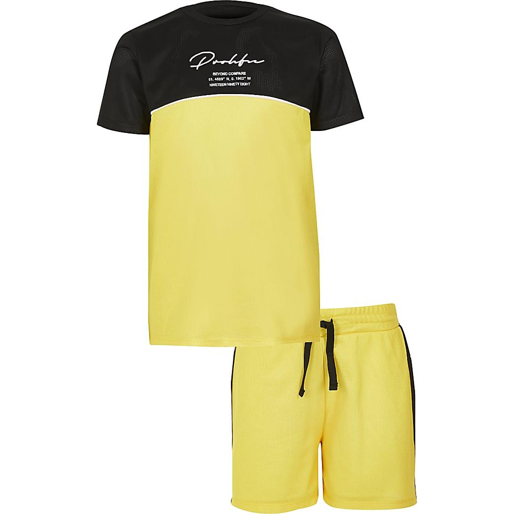 Boys yellow Prolific mesh T-shirt outfit