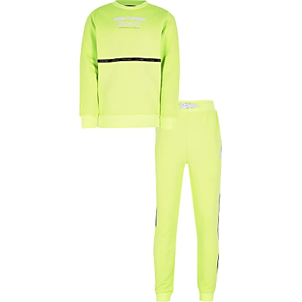 Boys yellow RI active taped tracksuit