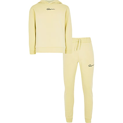 Boys yellow 'river' hoodie outfit