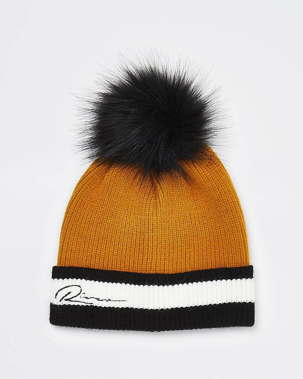 Boys yellow River knit beanie hat