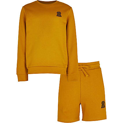 Boys yellow sweatshirt and short set