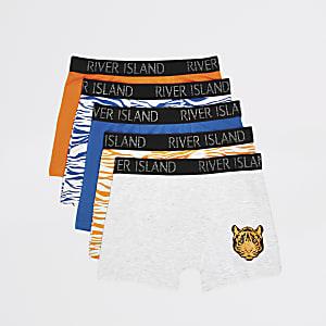 5er-Pack gelbe Boxershorts mit Tigerprint für Jungen