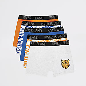 Set van 5 gele boxers met tijgerprint voor jongens