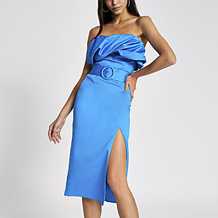 Bright blue bandeau belted bodycon midi dress