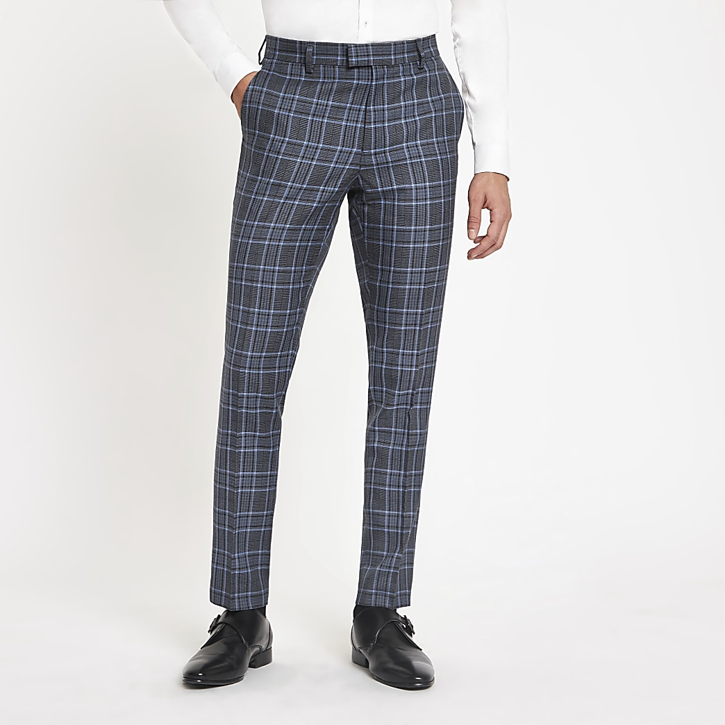 Bright blue check skinny suit trousers