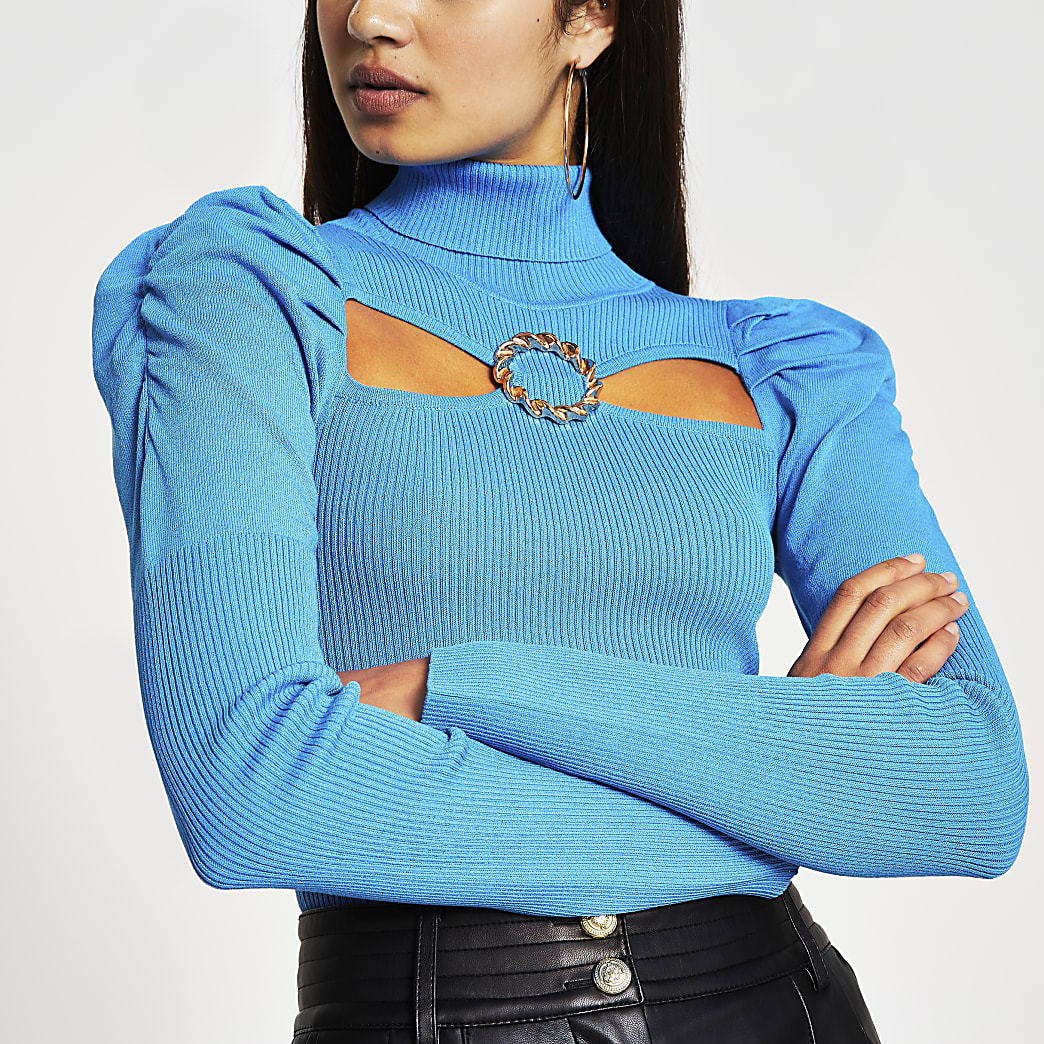 Bright Blue cut out buckle Knitted Top