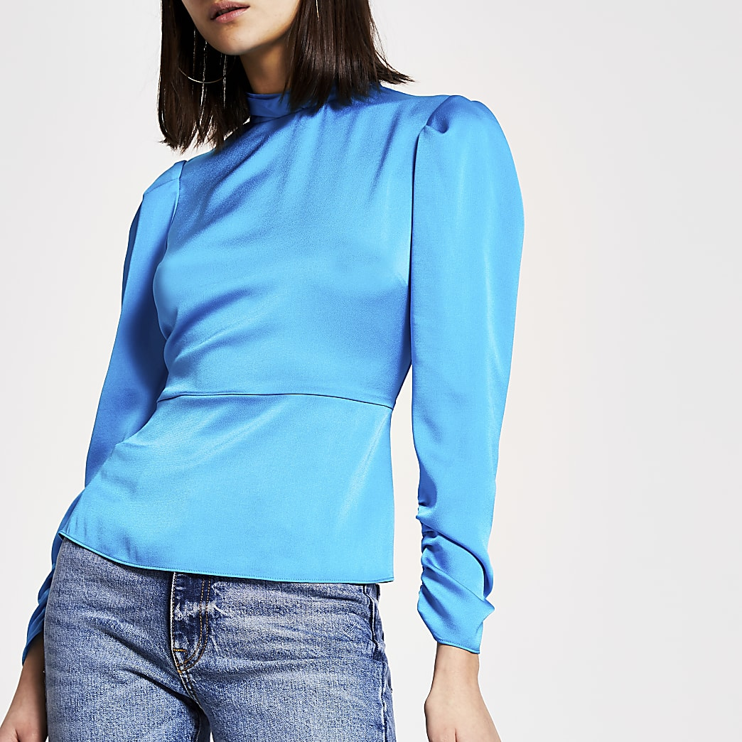 Bright blue high twisted neck blouse