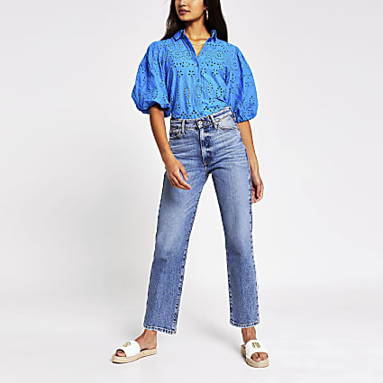 Bright blue long sleeve broderie shirt