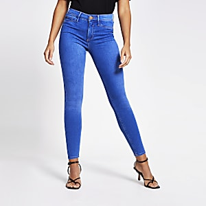 Molly - Felblauwe jegging met halfhoge taille