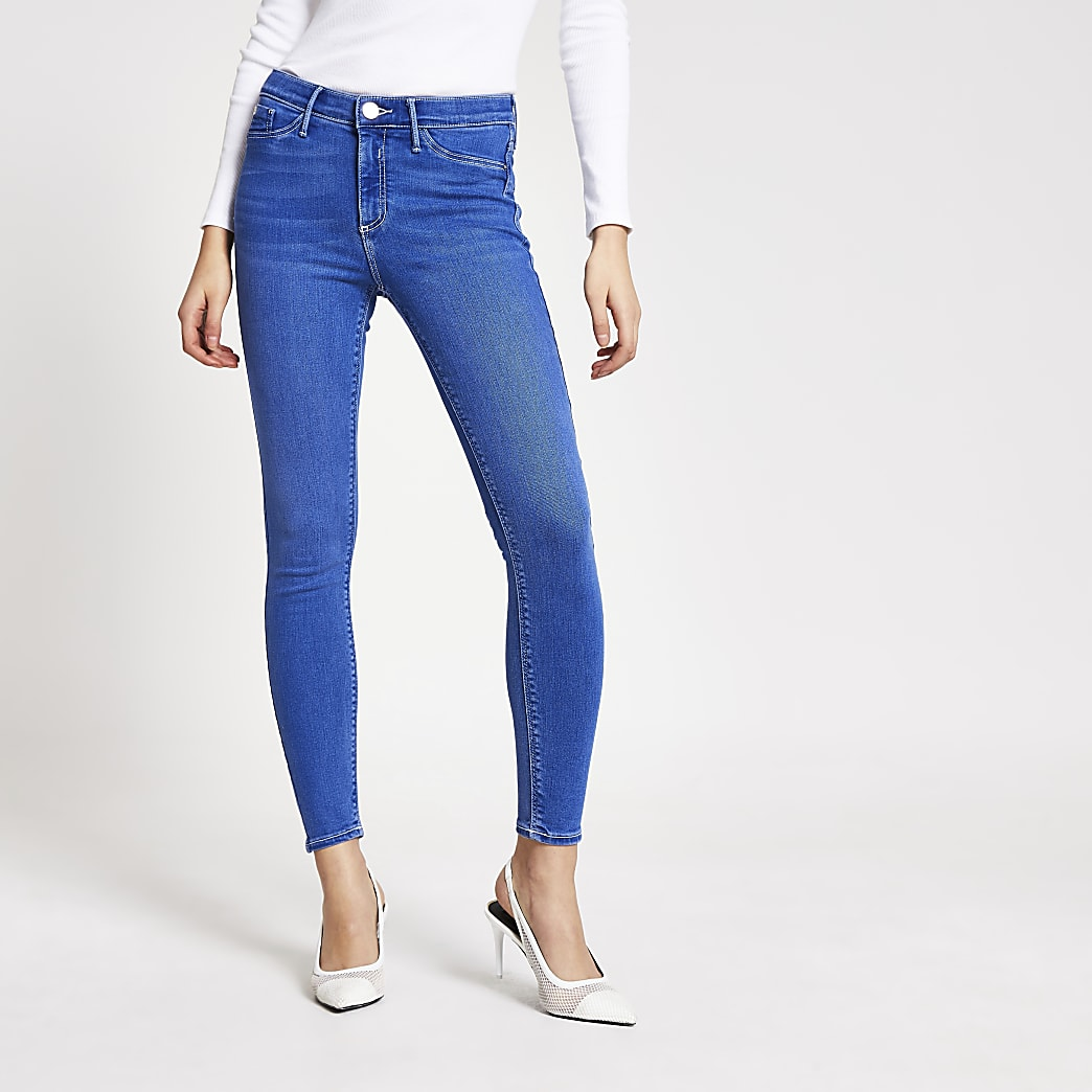 Bright blue Molly mid rise jeggings