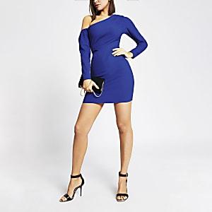 Bright blue one shoulder bodycon mini dress