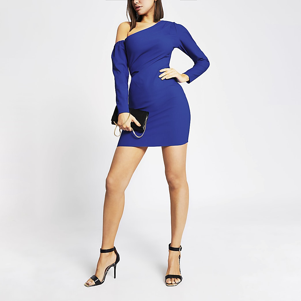 Bright blue one shoulder bodycon mini dress