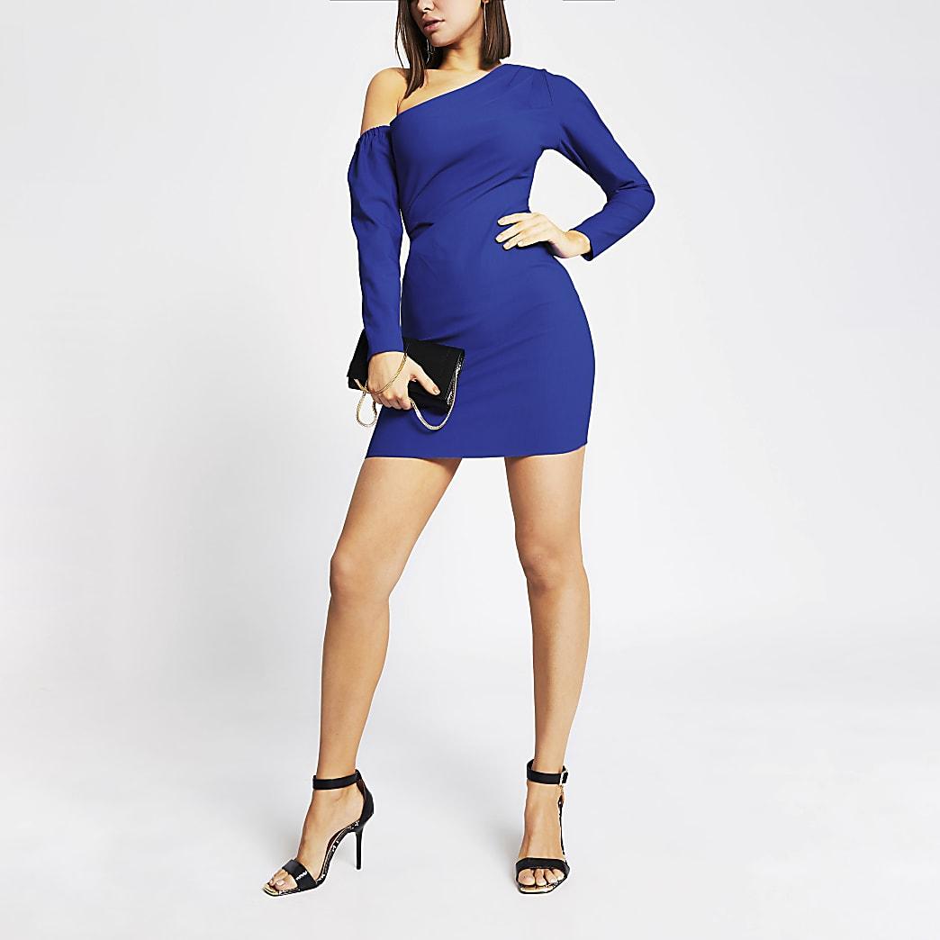 Mini-robe moulante asymétrique bleu vif