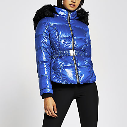 Bright Blue quilted belted padded jacket