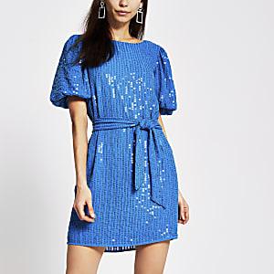Mini-robe ceinturéeà sequins bleu vif
