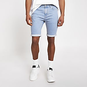 Bright blue Sid skinny denim shorts