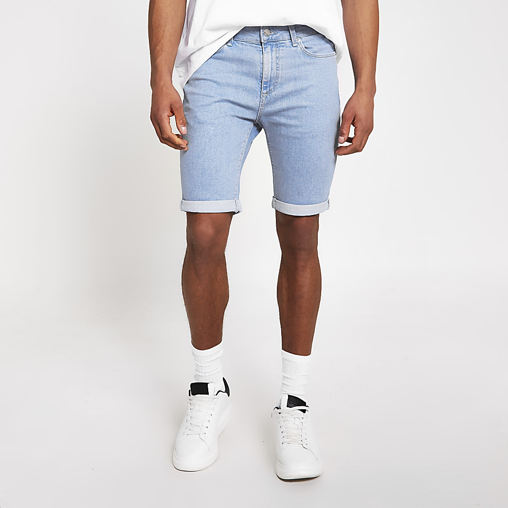 Bright blue Sid skinny denim shorts