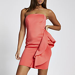 Helderroze bandeau mini-jurk met ruches