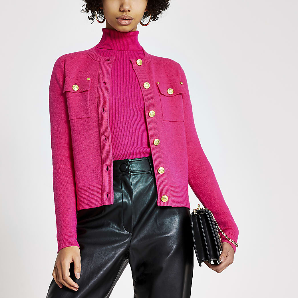 Bright pink button front knitted cardigan
