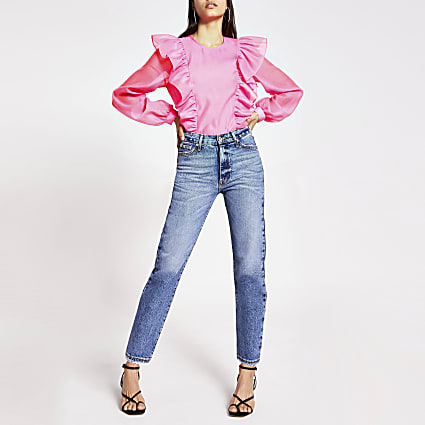 Bright pink frill top