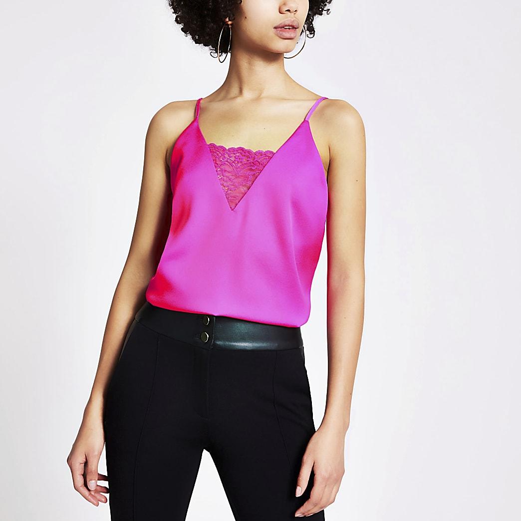 Pinkes Trägertop mit V-Ausschnitt aus Spitze
