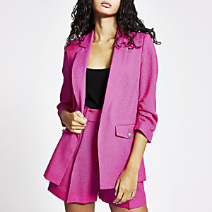 Bright pink ruched sleeve blazer