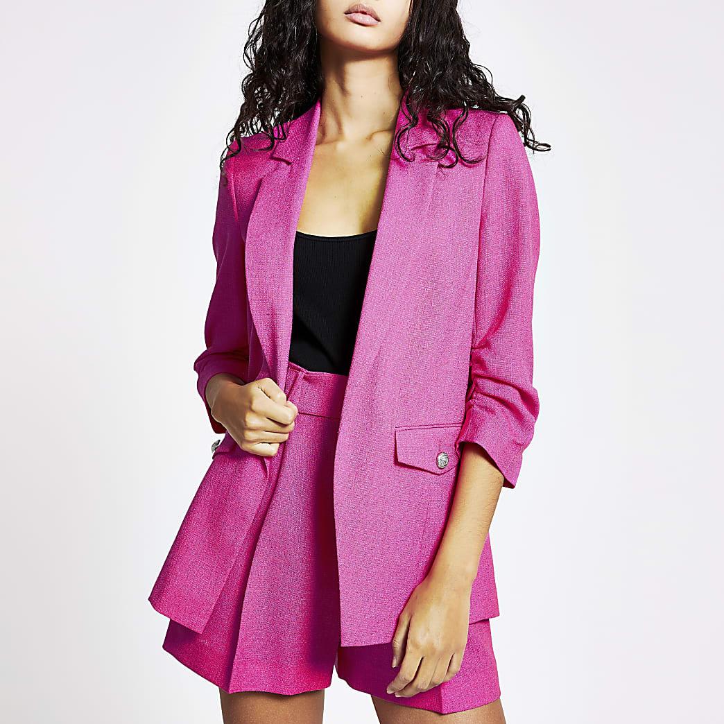 Bright pink ruched sleeve blazer