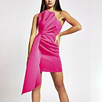 Bright pink ruffle bandeau mini dress