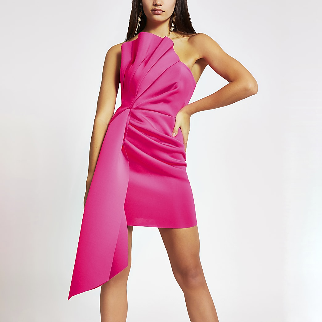 Mini-robe bandeauà volants rose vif