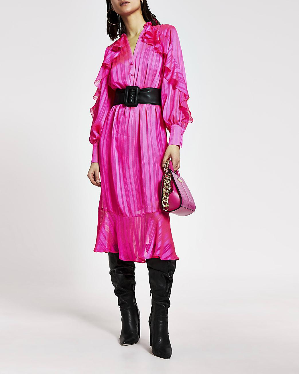 Bright pink ruffle tie belted midi dress