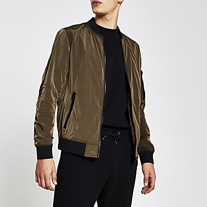 Bronze crinkle bomber jacket