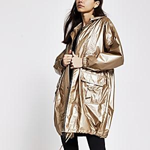 Bronze longline anorak jacket