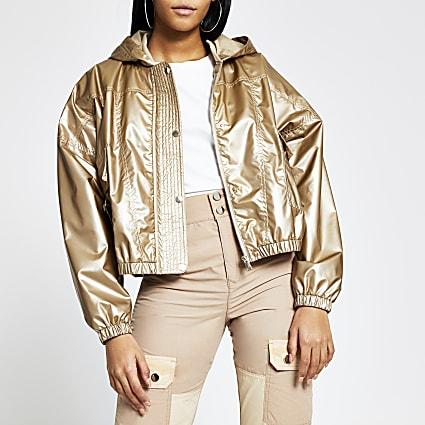 Bronze metallic nylon bomber jacket