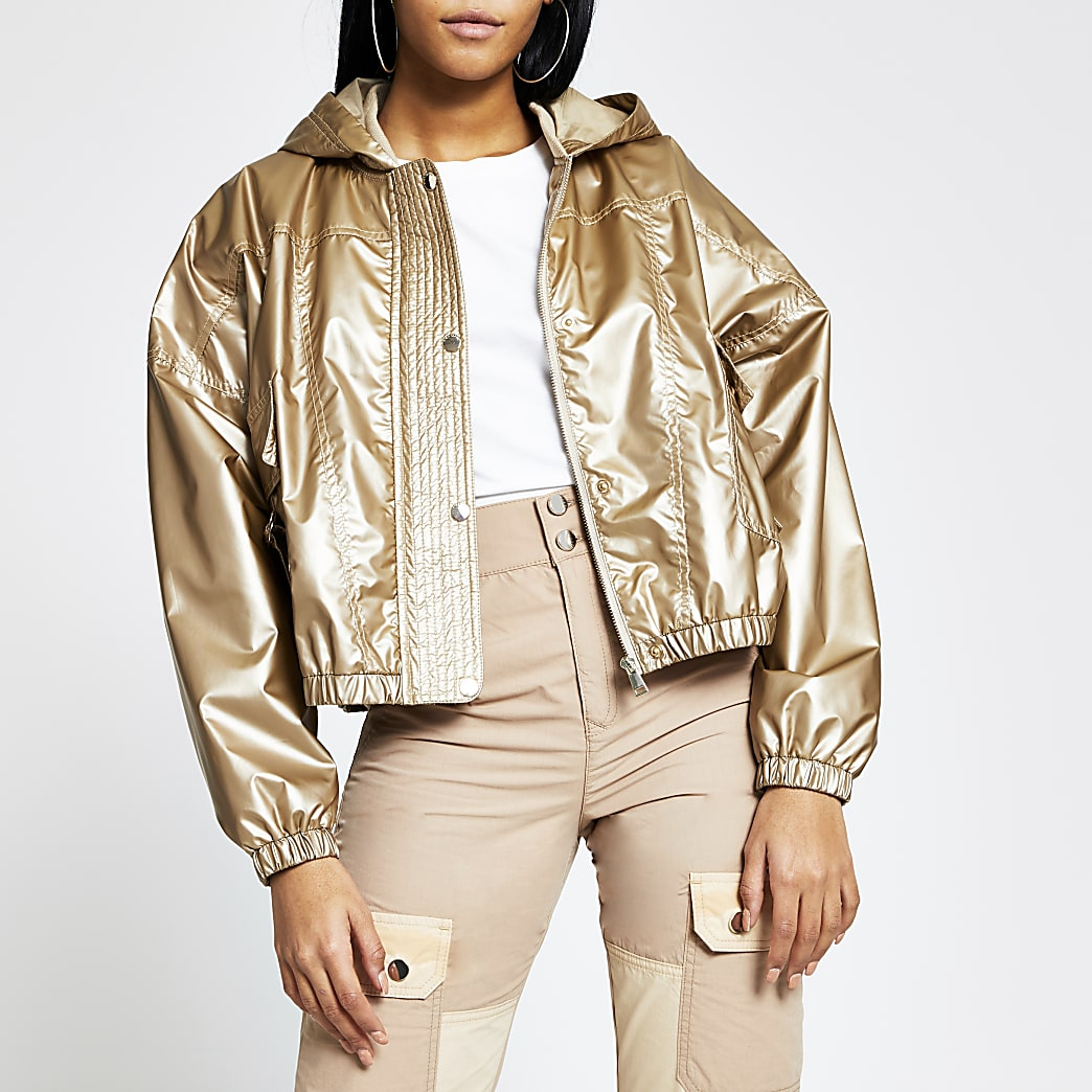 Bronze metallic nylon bomber jacket