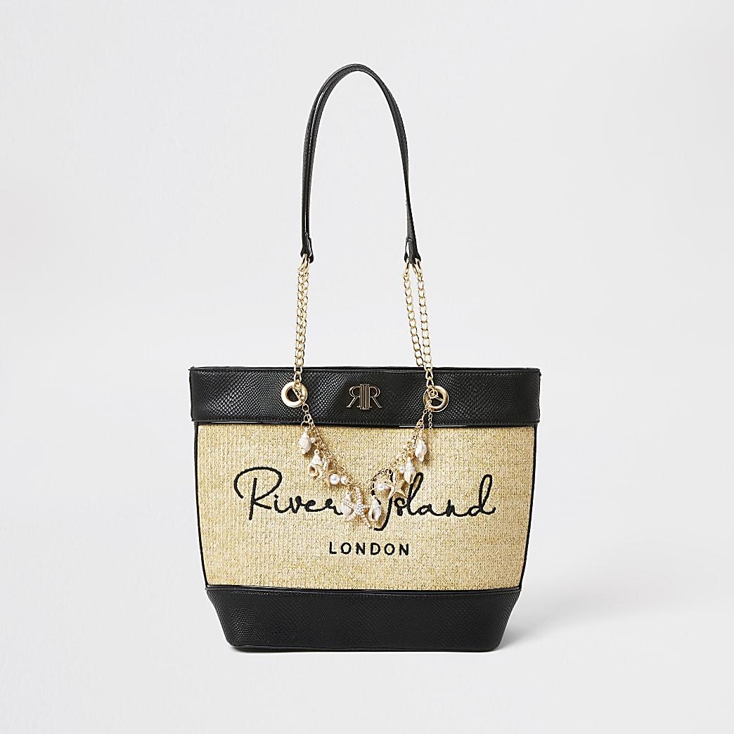 Brown - Light Og Shell Raffia Shopper