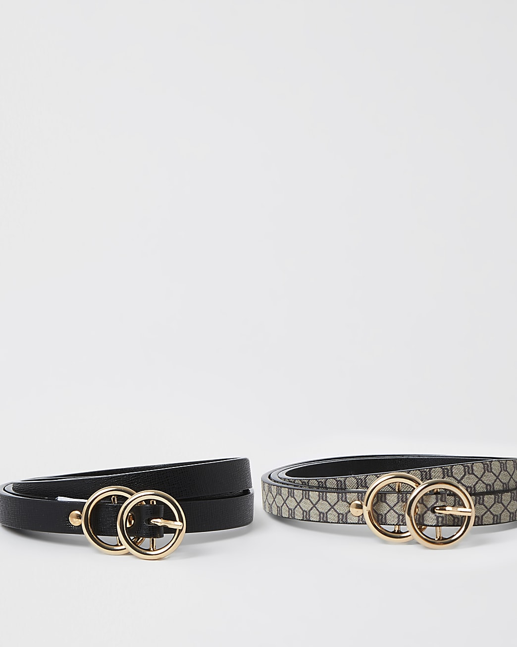 Brown 2 pack mini double ring belt