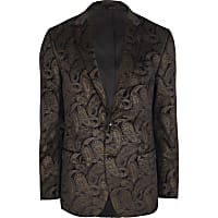 Brown and gold paisley slim fit blazer