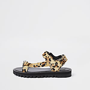 Brown animal print asymmetric sporty sandal