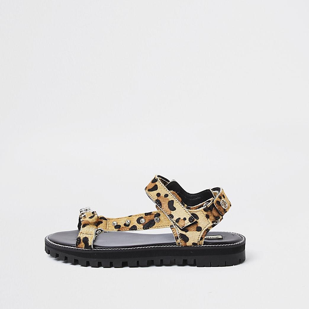 Brown animal print asymmetric sporty sandal
