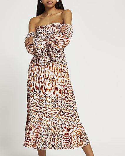 Brown animal print bardot maxi dress