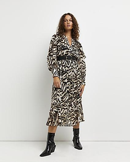 Brown animal print belted midi dress