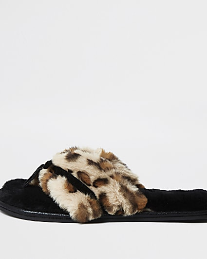 Brown animal print bow faux fur slippers